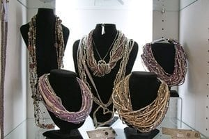 Beaded, layered necklaces
