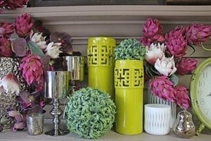 Candle holders and artificial flowers