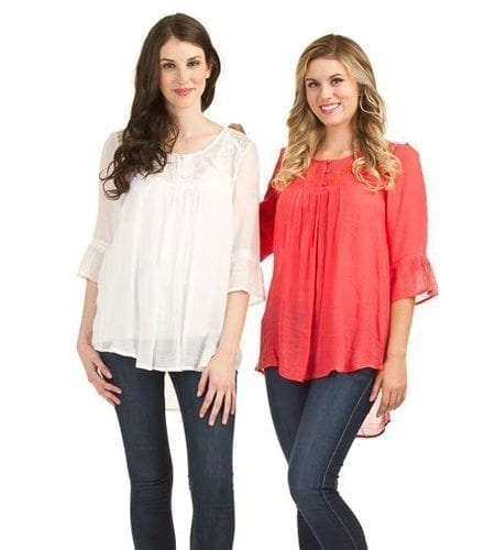 White and coral chiffon blouses